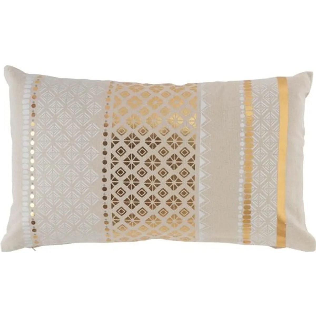 coussin dehoussable 30 x 50 cm en coton imprime or gaya
