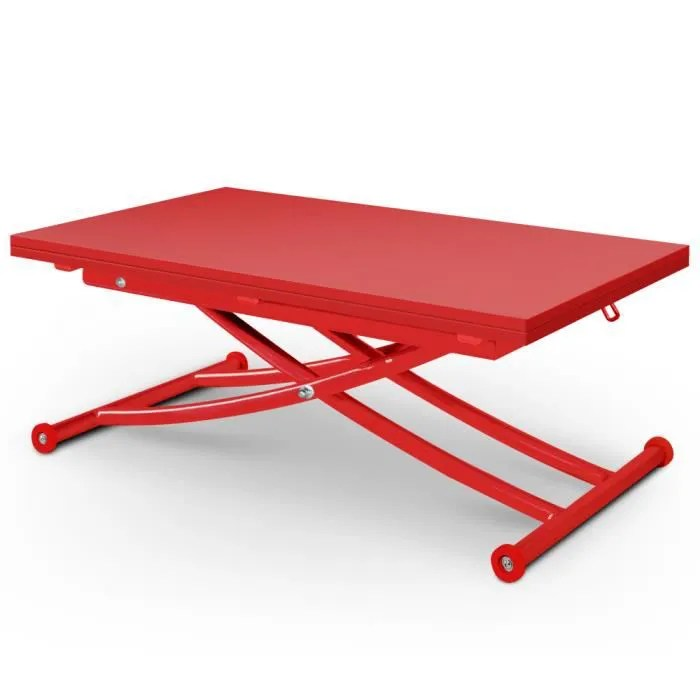 table basse relevable carrera mat rouge