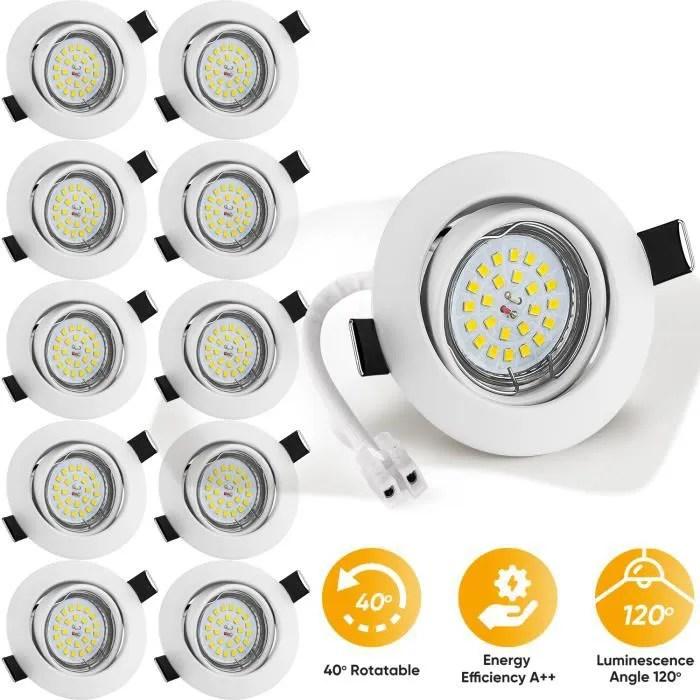 wowatt 10x led spots encastrables blanc 6w equivau
