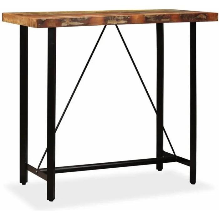 table de bar table bistrot table a manger en bois massif table de salle a manger table haute cuisine style industriel 120 x 60 x