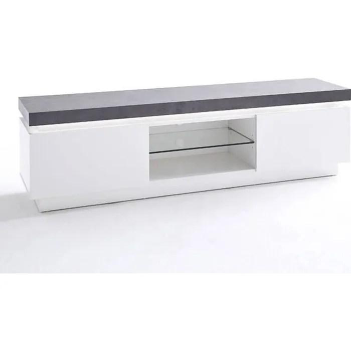meuble tv design atlantis laque blanc mat et beton
