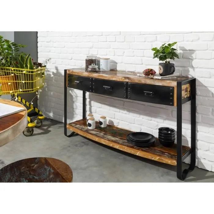 console fer et bois massif recycle laque multicolore industrial 42