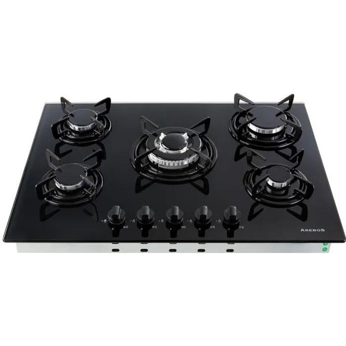 arebos table de cuisson a gaz inox 5 bruleur 70 cm verre