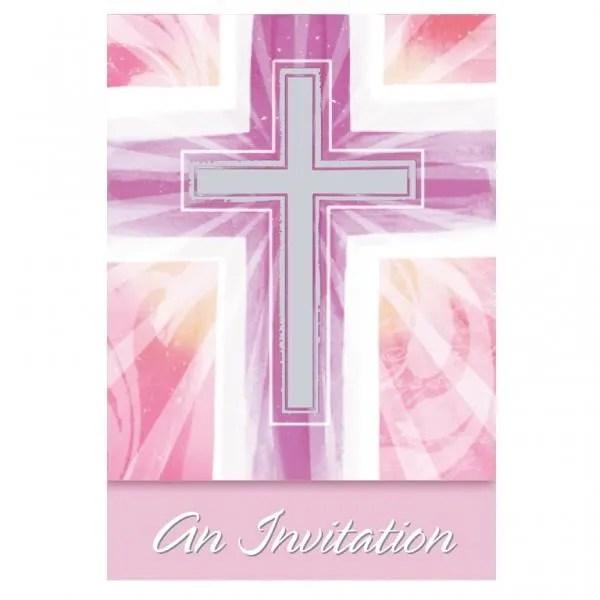 cartes d invitation communion rose