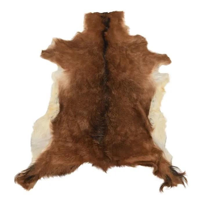 tapis en peau de chevre marron 60x80cm
