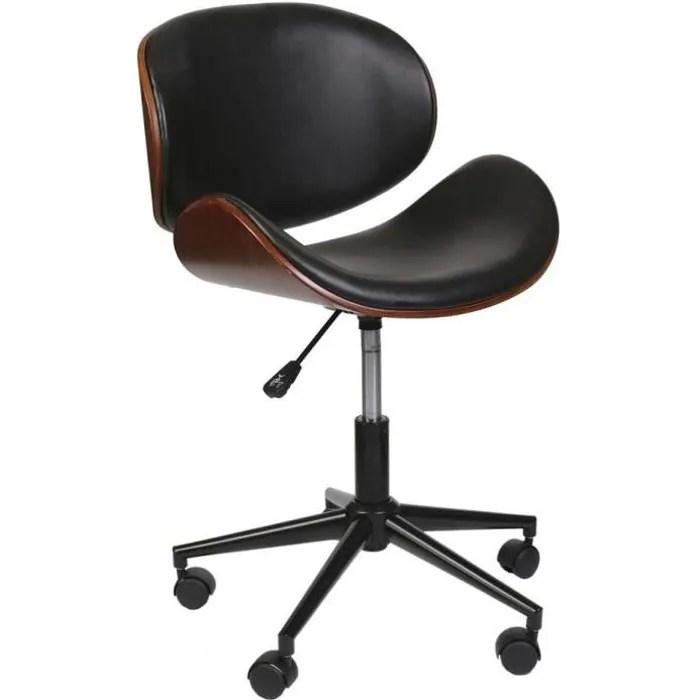chaise de bureau bois et simili cuir a