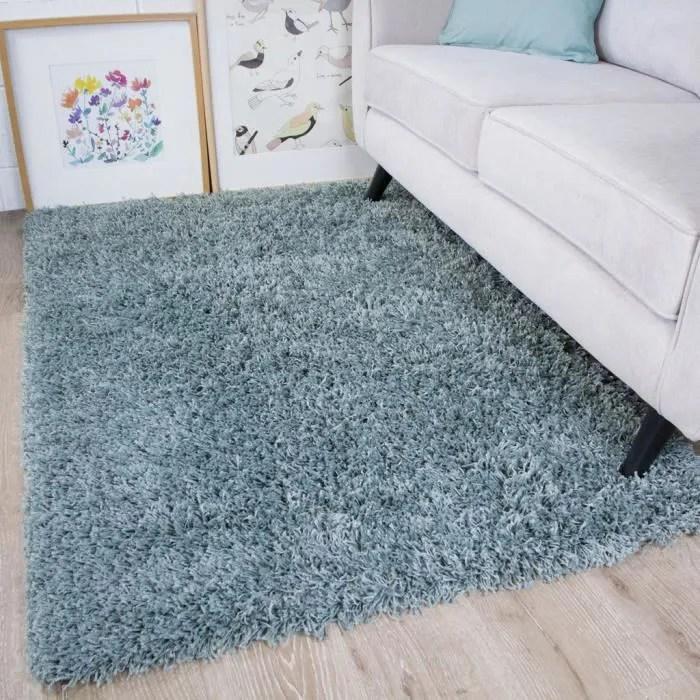 tapis poils longs epais bleu gris