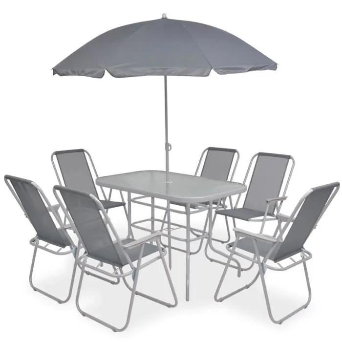 6 chaise pliable avec parasol gris