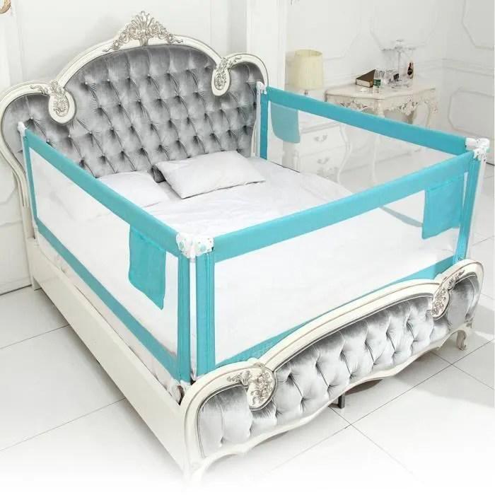 ss 33 barriere de lit enfants bebes protection bord de lit pour securite bleu 180x80cm