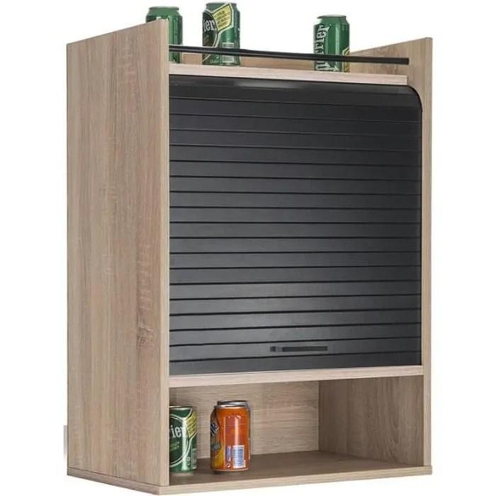 meuble de rangement de cuisine a rideau bois noir