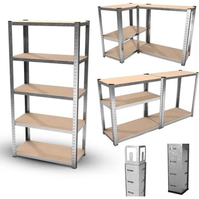 etagere de rangement polyvalente en metal charge lourde max 875kg 180 x 90 x 45 cm gris