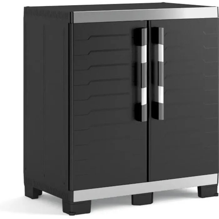 keter armoire basse de rangement xl 2 portes pieds sureleves et ajustables verouillable noir