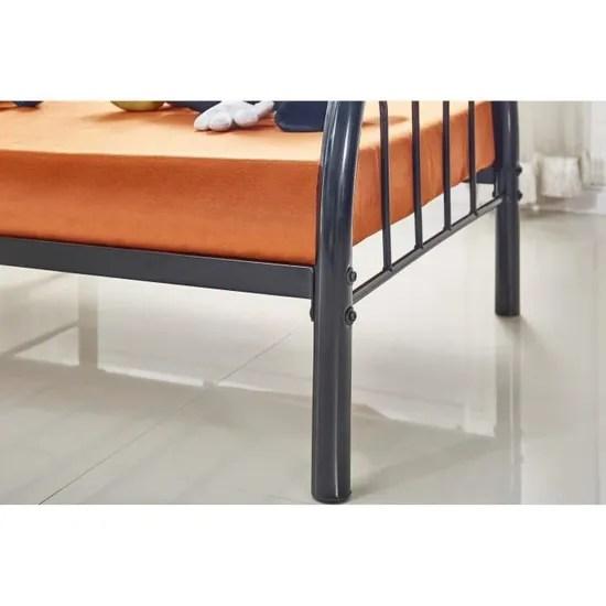 lit metal 90x190 cm noir kiny avec sommier