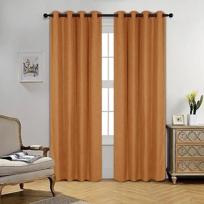 double rideaux a œillet 140250cm orange effet lin colore rideaux occultant pour decoration salon