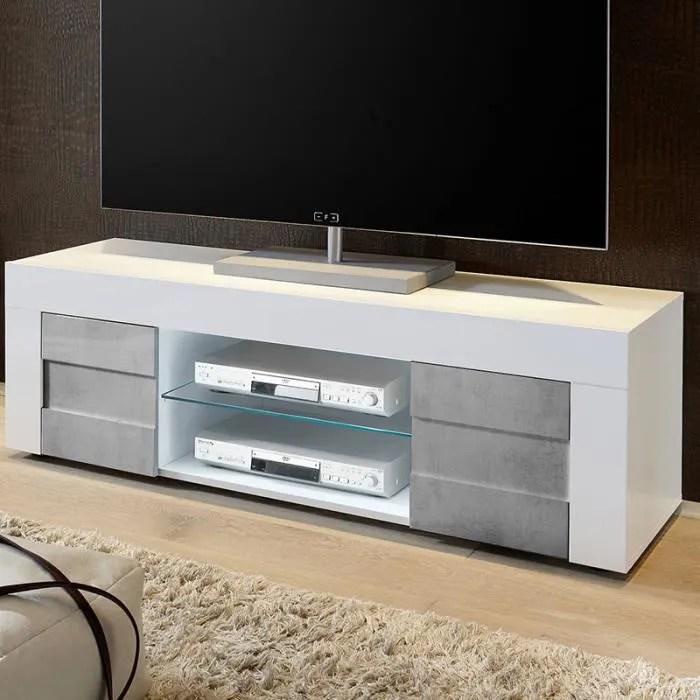 banc tv blanc laque et effet beton tunis 2 140 cm