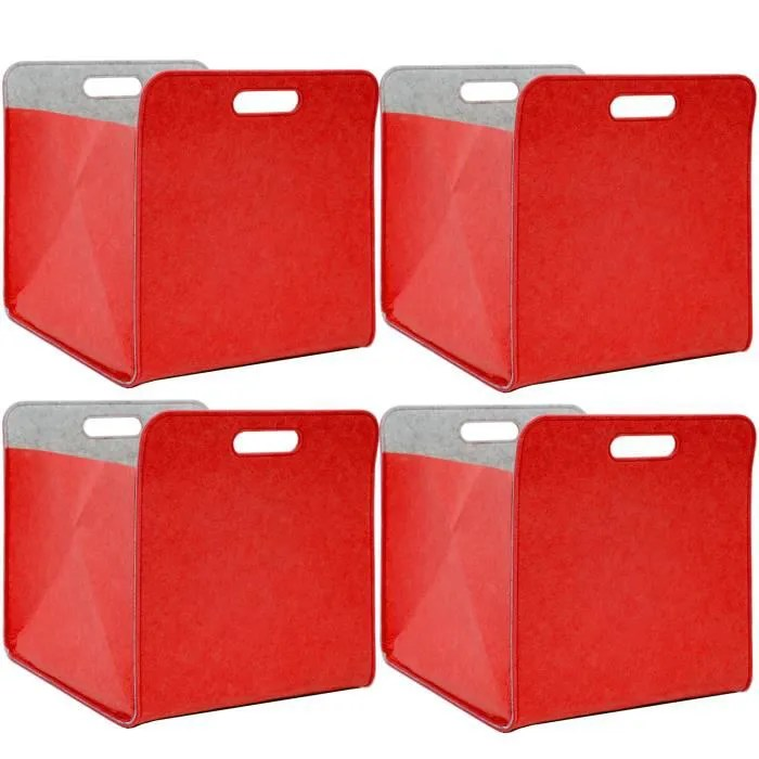 4 boites de rangement feutre 33x33x38 kallax panier feutrine etagere ikea rouge