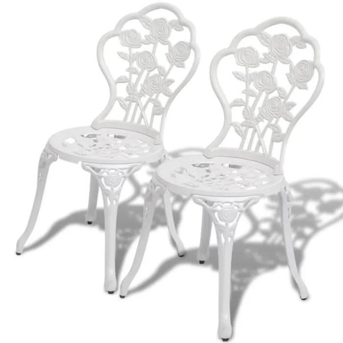 2 pcs chaises de bistrot mosaique aluminium blanc