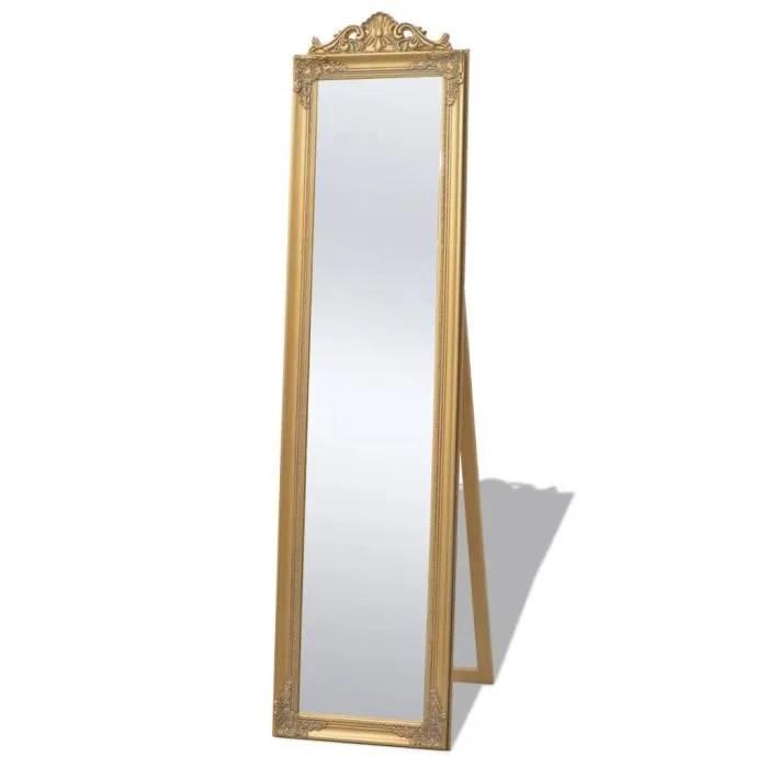 miroir sur pied en bois style baroque encadrement moulure miroir psyche de selection classique chic dore 160 x 40 cm