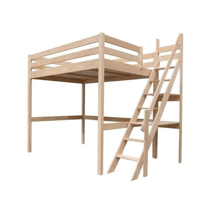 lit mezzanine sylvia avec escalier de meunier bois couleur vernis naturel dimensions 120x200