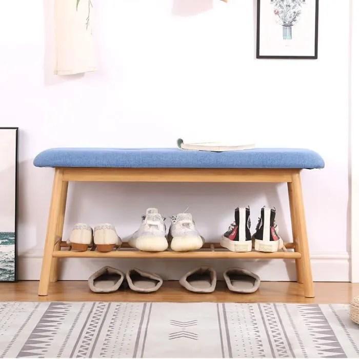 meuble a chaussure banc d entree scandinave bleu l 90cm h 45cm