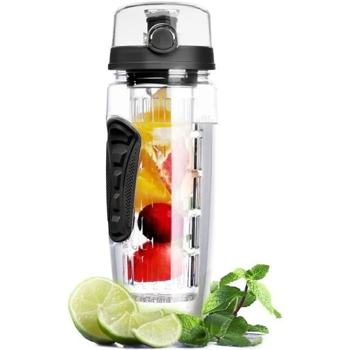 bouteille a infusion de fruits avec etui isotherme anti condensation et long infuseur 1litre noir