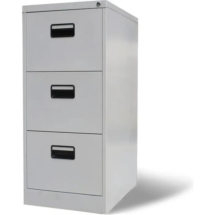 classeur meuble de classement de rangement avec 3 tiroirs metal gris