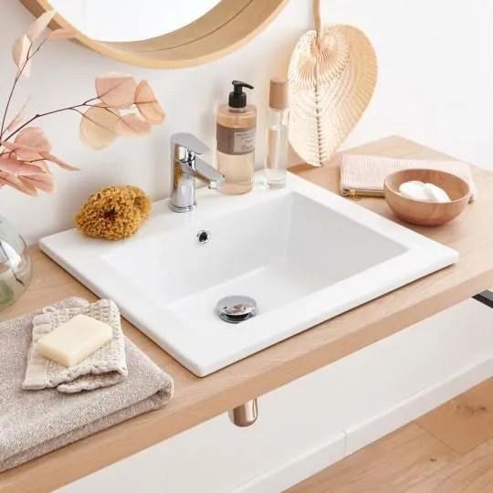 vasque salle de bain a encastrer en ceramique blanche l50 x p43cm lina