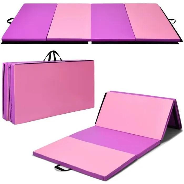 costway tapis de gymnastique pliable 240x120x5cm t