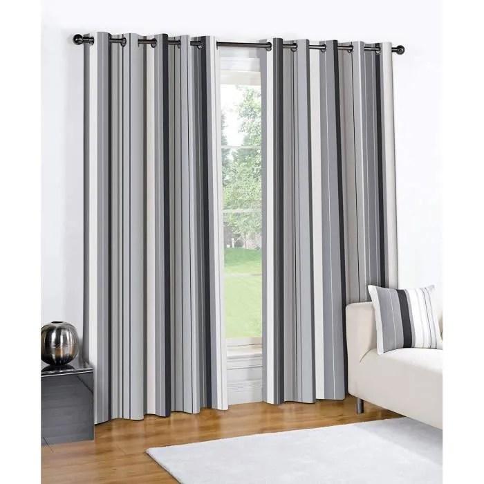 double rideaux gris et noir