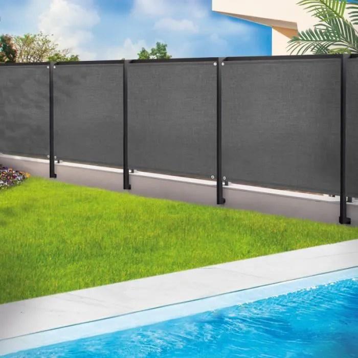 brise vue renforce 1 8 x 10 m gris 220 gr m luxe