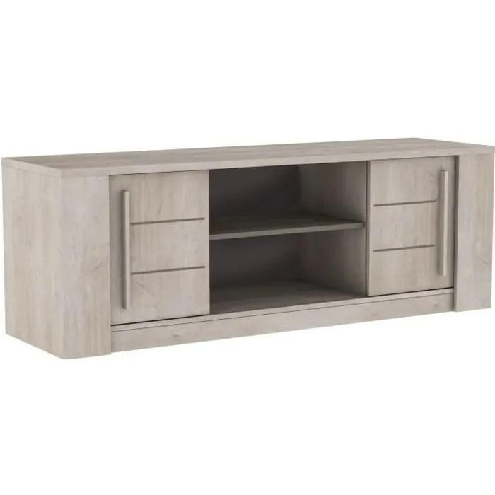 antibes meuble tv contemporain decor chene champagne et effet beton beige l 150 cm