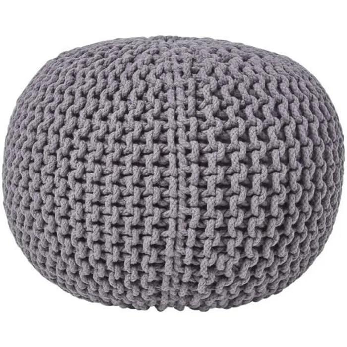 pouf en tricot rond gris fonce
