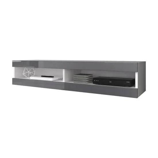 meuble tv suspendu blanc mat et gris laque 150 cm