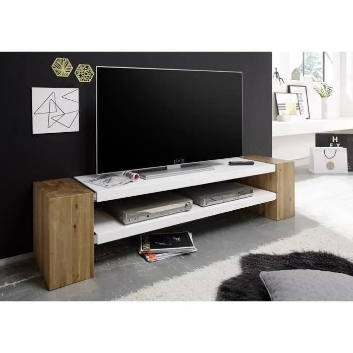 meuble tv contemporain 170 cm jamie ii chene massif blanc mat