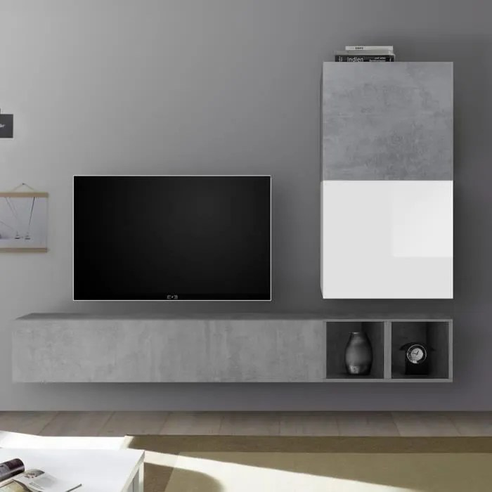 meuble tv suspendu blanc laque et gris beton solet