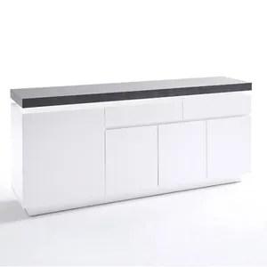buffet blanc laque 4 portes et tiroirs