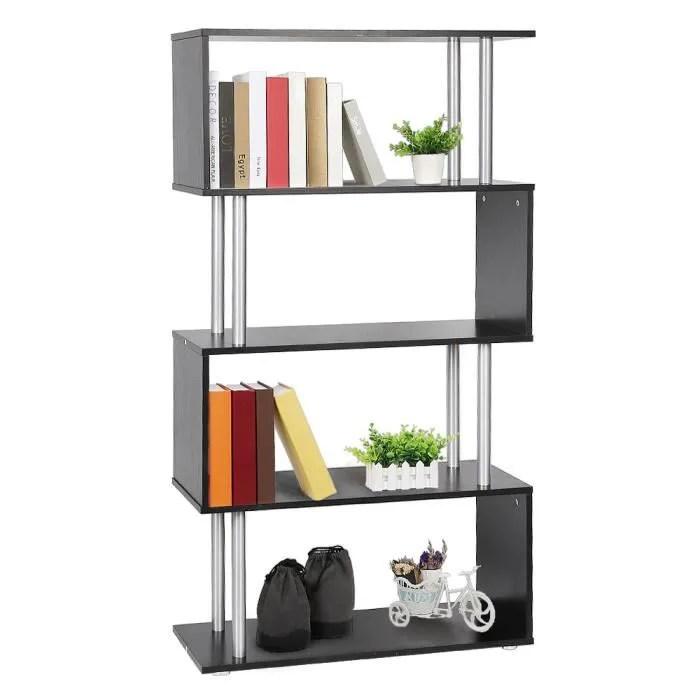 bibliotheque etagere pour livres meuble rangement de 4 niveaux noir en bois 80x30x145cm