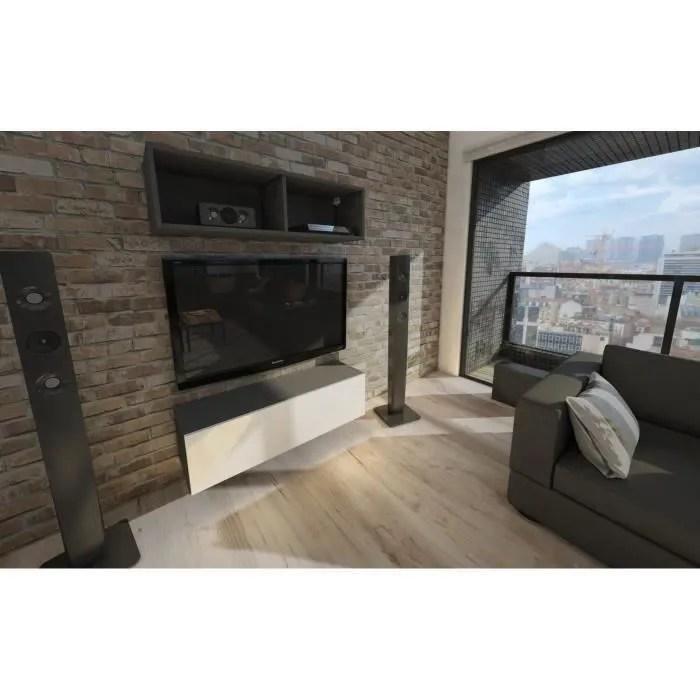 meuble tv suspendu 105 cm blanc mat facade laque