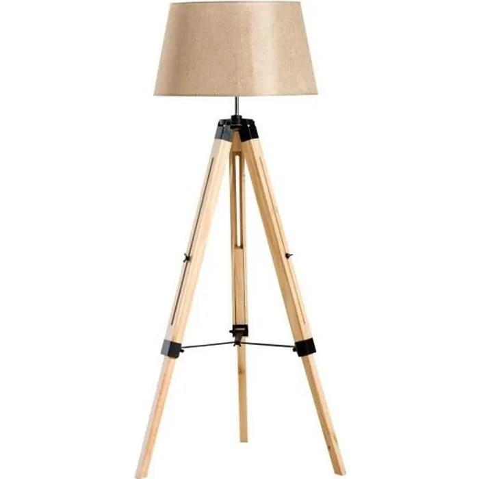 lampadaire scandinave sur trepied en bois de pin creme