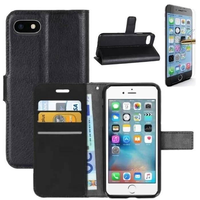 coque iphone 7 plus rabat portefeuille noir verre trempe