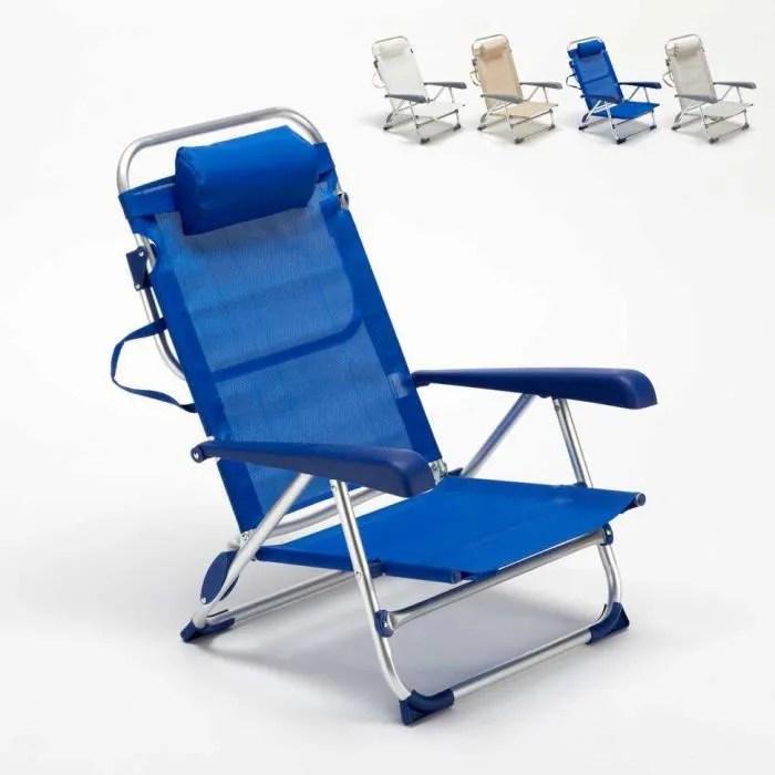 chaise transat de plage pliante avec accoudoirs mer aluminium gargano couleur bleu