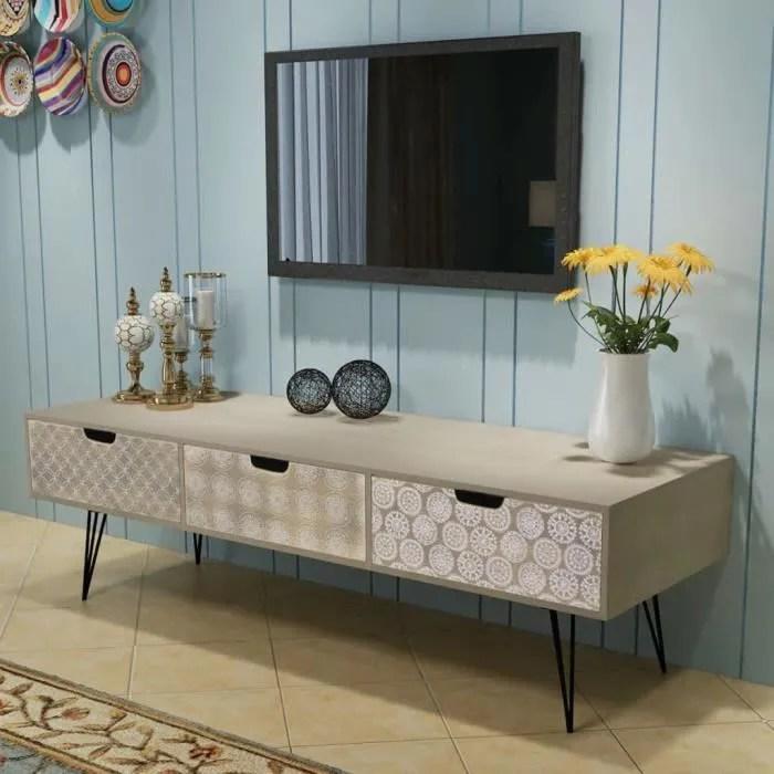 meuble tv contemporain scandinave avec 3 tiroirs 1