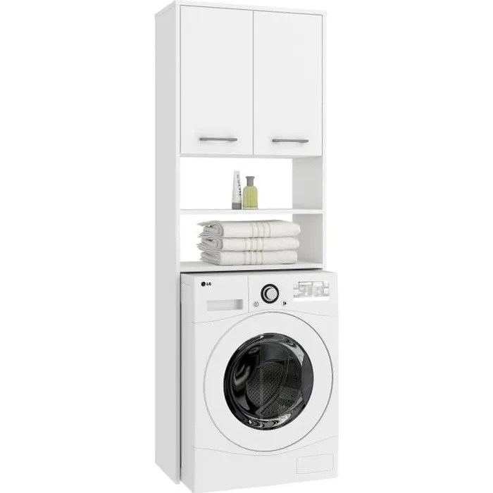 lena meuble pour machine a laver 180x64x30 cm espace de rangement buanderie lave linge salle de bain avec placard etageres blanc
