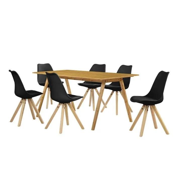 en casa table a manger avec 6 chaises noir 180x80