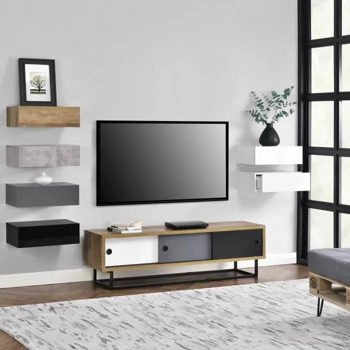 en casa meuble tv avec 3 tiroirs plusieurs co