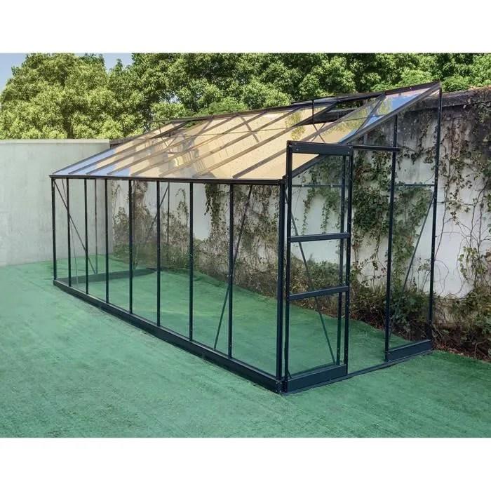 green protect serre de jardin adossee aluminium et verre trempe 9 63 m gris anthracite