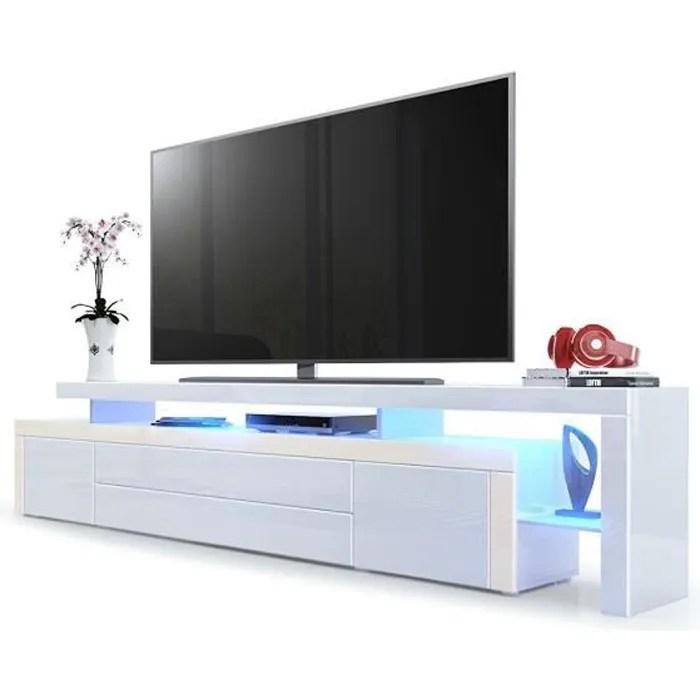 meuble tv creme blanc laque 227 cm avec led