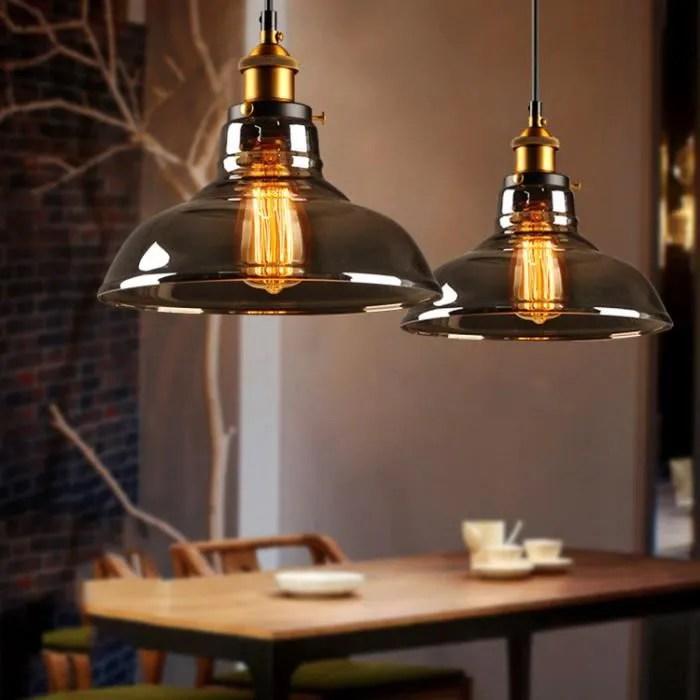 luminaire suspendu en verre industriel lampe a su