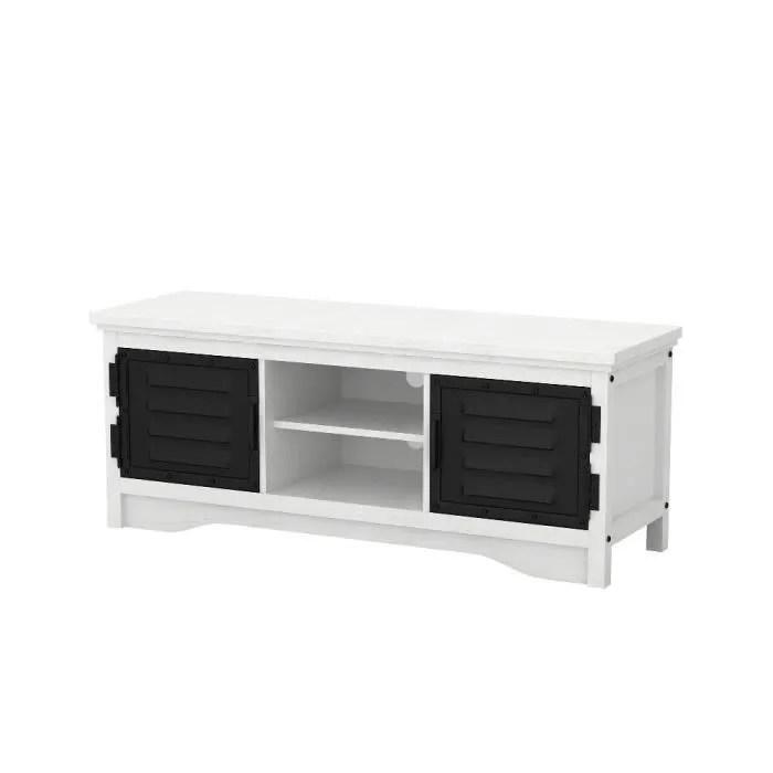 meuble tv en bois blanc 2 portes metal noir style