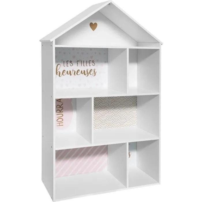 enfant forme maison 7 cases rose